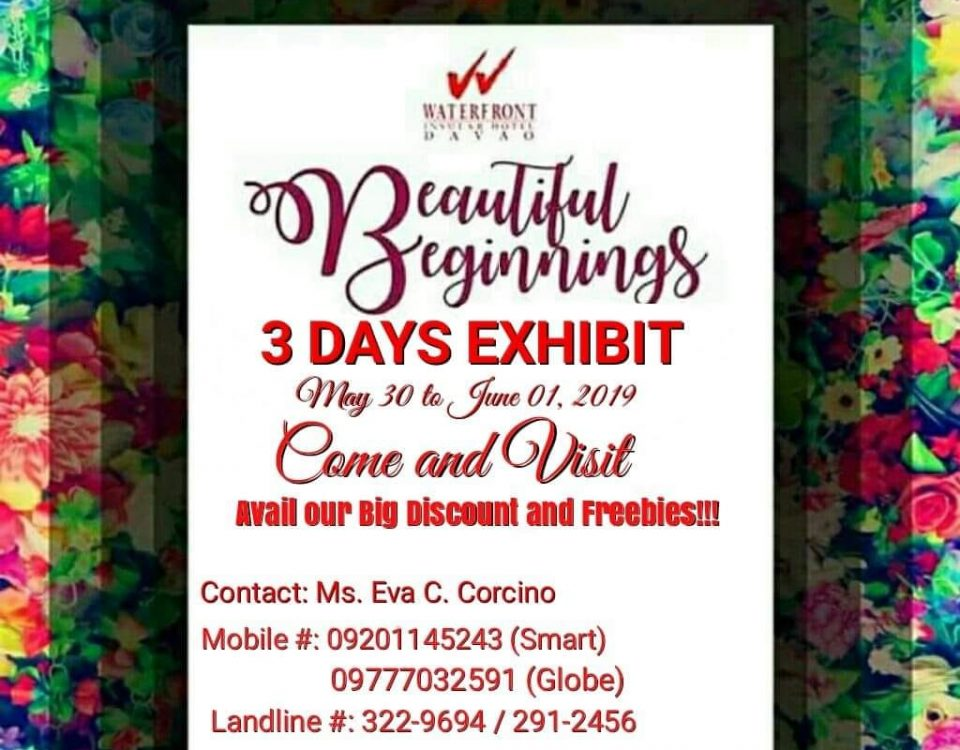 3 DAYS EXHIBIT BEAUTIFUL BEGGINNINGS may 30 31 June 1,2019 @ Waterfront Insular...