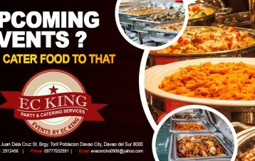 Upcoming Events?  We cater foods to that...  EC King Party and Catering Services...