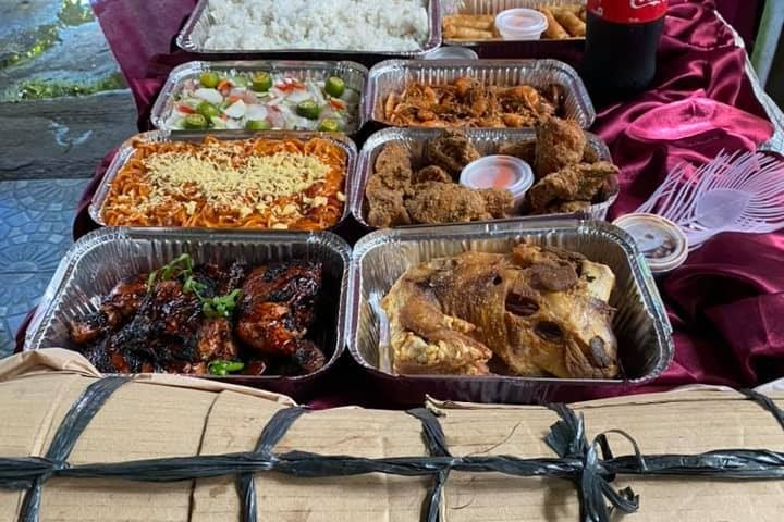 Party package set A PROMO upgraded with tray macaroni and buco salad plus lechon...