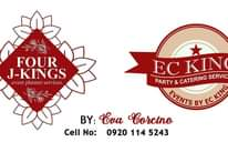"""Bild könnte enthalten: Text """"FOUR J-KINGS .event planners services. EC KING PARTY & CATERING SERVICES EVENTS BY EC KING BY: Eva Corcino Cell No: 0920 114 5243"""""""