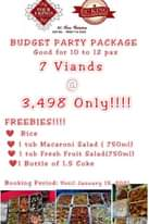 "Bild könnte enthalten: Text ""FOUR J-KINGS EC KING BY: Cea Corcino Cell Not 0920 114 243 BUDGET PARTY PACKAGE Good for 10 to 12 pax 7 Viands @ 3, 3,498 Only!!!! FREEBIES!!!! Rice 1 tub Macaroni Salad (750ml) 1 tub Fresh Fruit Salad(750ml) Bottle of 1.5 Coke Booking Period: Until January 15 2021"""