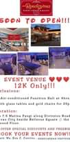 """Ist möglicherweise ein Bild von Text """"Rendezyous EVENT VENUE BUFFET M T TO SOON PEN!!! Bellovs EVENT VENUE 12K Only!!! Inclusions: Air-conditioned Function Hall at 4hrs. with glass tables and gold chairs for 25pcs. Location: Km 7.5 Matina Pangi along Divirsion Road Davao City beside Bellevue Square the Ground Floor. WE OFFER SPECIAL DISCOUNTS AND REEBIES!!! BOOK YOUR EVENTS NOW!!! Contact: Ms. Eva c. Corcino 09201145243/09777032591"""""""
