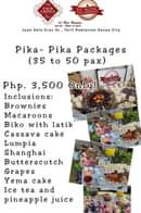 "Bild könnte enthalten: Essen, Text ""-KINGS ECKING HH Dea Celcina Cell 0920 145243 Juan Dela Cruz St., Toril Poblacion Davao City Pika- Pika Packages (35 to 50 pax) Php. 3,500 Only! Inclusions: Brownies Macaroons Biko with latik Cassava cake Lumpia Shanghai Butterscotch Grapes Yema cake Ice tea and pineapple juice"""