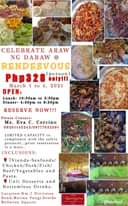 "Ist möglicherweise ein Bild von Essen und Text ""CELEBRATE ARAW NG DABAW RENDEZVOUS Php328 person) only!!! March 1 to 2021 OPEN: Lunch- 10:30am to 2:30pm Dinner- 4:30pm to 8:30pm RESERVE NOW!!! Please Contact: Ms. Eva Corcino 09201145243/09777032591 LIMITED CAPACITY in compliance with the safety protocol.. .prior reservation is must.. INCLUSIONS: 7Viands-Seafoods/ Chicken/Pork/Fish/ Beef/Vegetables and Pasta. Unli Desserts and Bottomless Drinks. Location:Km.7 Divirsion Road,Matina Pangi,beside Bellevue Square. Rendezyous NUE&BUFFET PhotoGrid"""